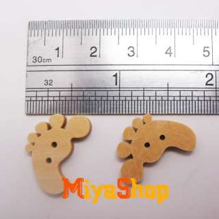 100 Pcs Feet Wood Buttons Colorful Kids Custom Made Sewing Craft