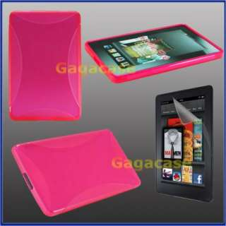 Pink  Kindle Fire TPU Gel Case Skin Cover + Anti Galre Screen