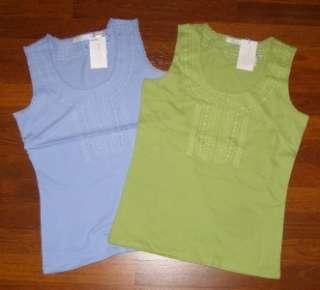 LIZ CLAIBORNE LIZWEAR Tank Top Shirt Blue Green New M