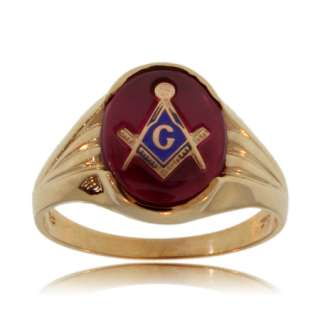 GENTS MASONIC RING 10K YELLOW GOLD RED OVAL SIGNET NEW