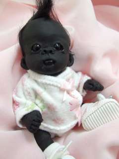OOAK Baby Gorilla Monkey Sculpted Polymer Clay Art Doll Poseable