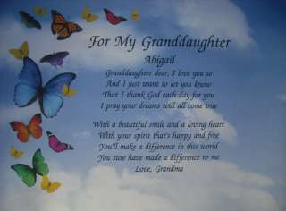 PERSONALIZED POEM FOR MY GRANDDAUGHTER BIRTHDAY OR CHRISTMAS GIFT