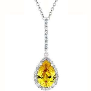 on Bail and Around Pear Cut Yellow CZ in Silvertone Jewelry Jewelry