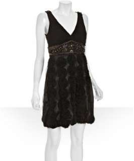 Sue Wong black chiffon pleated rosette detail dress   up to 70