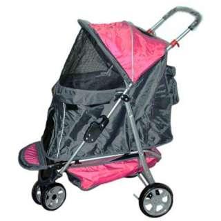 BestPet Pink 3 Wheels Pet Dog Stroller w/RainCover