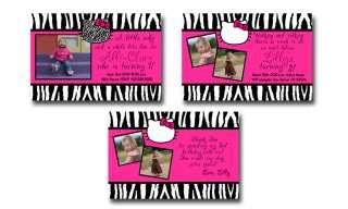Pink Zebra Print Hello Kitty Birthday Party Invitation