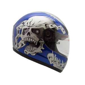 BLUE SKULL CHAIN FULL FACE MOTORCYCLE STREET HELMET(&HY