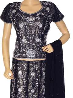 Lehenga Choli Indian Dress Black Women Party Cocktail Lehnga Clothing