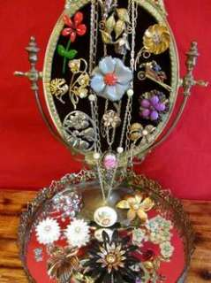 Vintage Jewelry Lot/Rhinestone/Enamel/Flower/Brooches/Pin/Earring/Coro