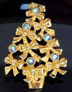 Borealis Crystal Rhinestone Christmas Tree Brooch Pin Signed AVON