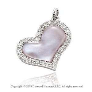 14k Diamond Pave Pink Mother of Pearl Swivel Heart Pendant Jewelry