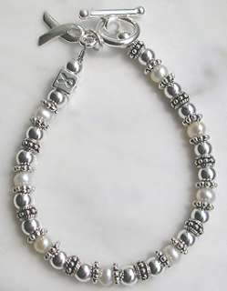 sterling silver mother of pearl multiple sclerosis awareness bracelet