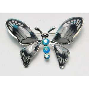Gloss Hand Painted Blue Opal Crystal Rhinestone Butterfly Brooch Pin