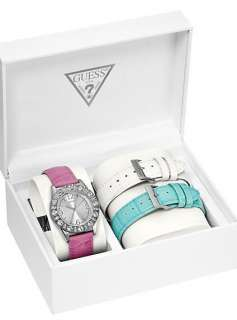 GUESS LADY WATCH PATENT LEATHER WHITE PINK BLUE STRAP