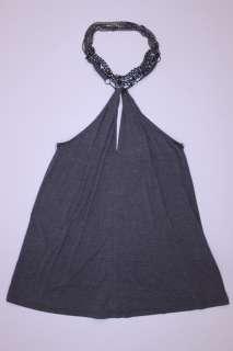 12159 haute hippie Chain Halter top Gray size Medium NWT